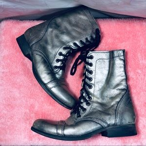 STEVE MADDEN Pewter Lace up Combat Style Boots 9.5